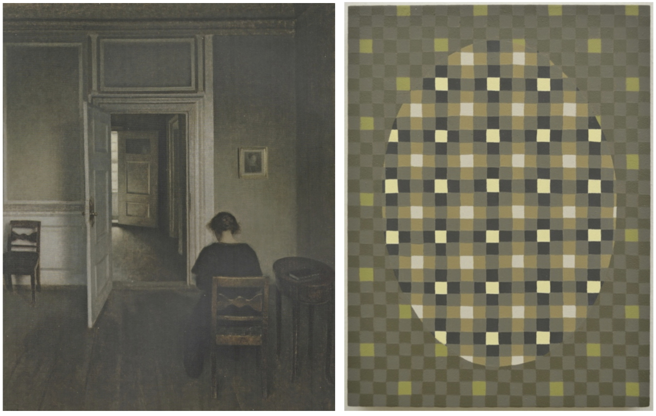 """Paintings by Men"" Hammershoi Panel with ""source painting,"" Interior, Strandgade 30 (Wilhelm Hammershoi, 1908)"