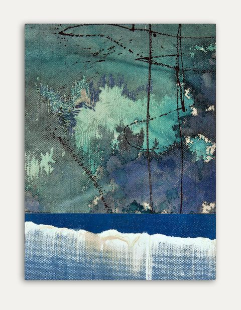 Katherine Kerr Allen Verticals Acrylic Pigments on Cotton Sail Cloth, Thread, Mounted on Board