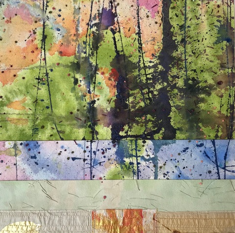 Katherine Kerr Allen New Works Gallery Acrylic, Ink, Canvas, Washi, Tea Bag, Thread