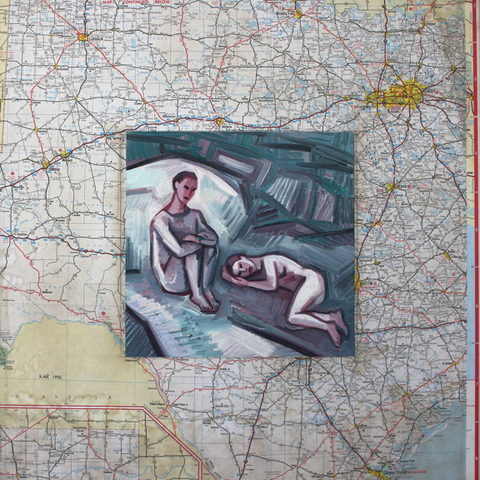 Map Series Oil on Panel w/Map