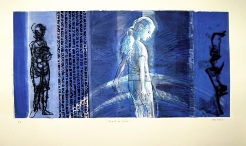 Prints & Mixed Media Bather in Blue