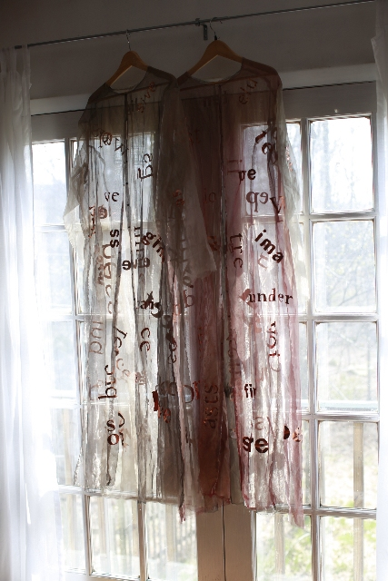 Being as Language Love Poetry in copper type on silk metallic organza robes