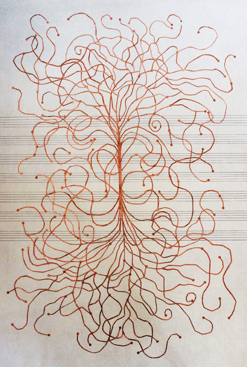 KATHLEEN ANDERSON Tuning Scores Copper foil on paper