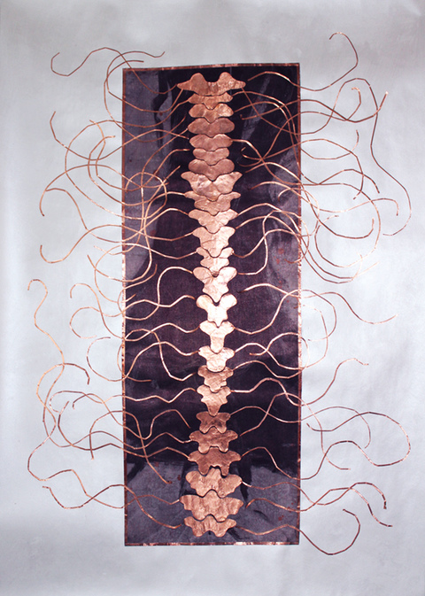 KATHLEEN ANDERSON Tuning Scores Copper foil, silk on paper