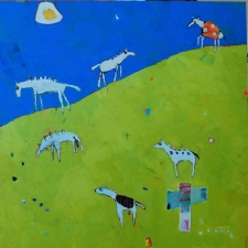 kathy beynette animals mixed media on canvas