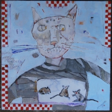 kathy beynette cats and dogs mixed media on board