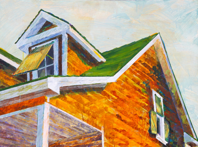 Kathy Calhoun Layers, Stages and Houses Acrylic Paint on board