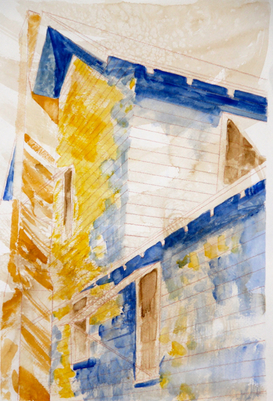 Kathy Calhoun Layers, Stages and Houses Gouache, color pencil and salt resist on watercolor paper