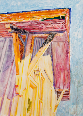 Kathy Calhoun Layers, Stages and Houses Acrylic paint and colored pencil on board