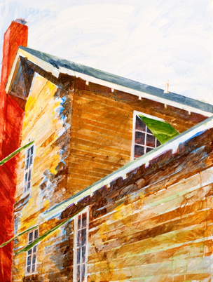 Kathy Calhoun Layers, Stages and Houses Acrylic paint, colored pencil and pigmented gesso on board