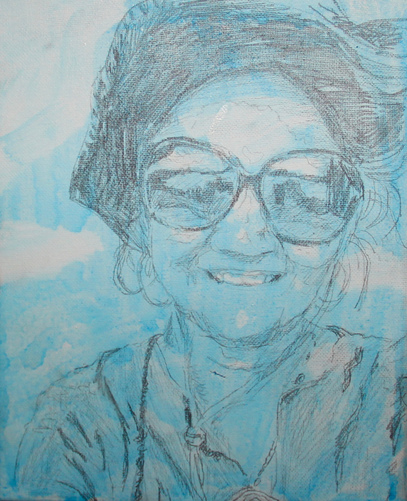 Kathy Calhoun Self Portraits Graphite, fixative and acrylic paint