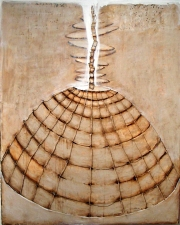 KATHY FEIGHERY Dress Series  oil and sisal on panel