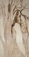 Kathy Hirshon <i>Spirited Trees</i> Series mixed media on wood