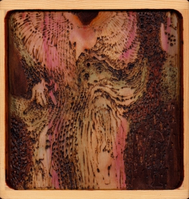 Kathy Hirshon Wood Objects wood-burning and acrylic on pine wood