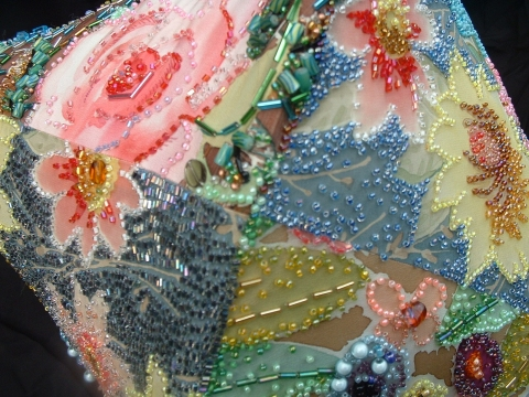 Fiber & Jewelry painted silk, glass beads, thread,  wire, synthetic fiber