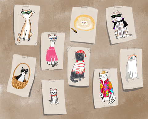 Children's Illustrations Cat characters