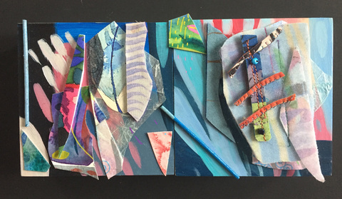 Abstract Assemblages Acrylic, wood, painted silk, paper on cradled board