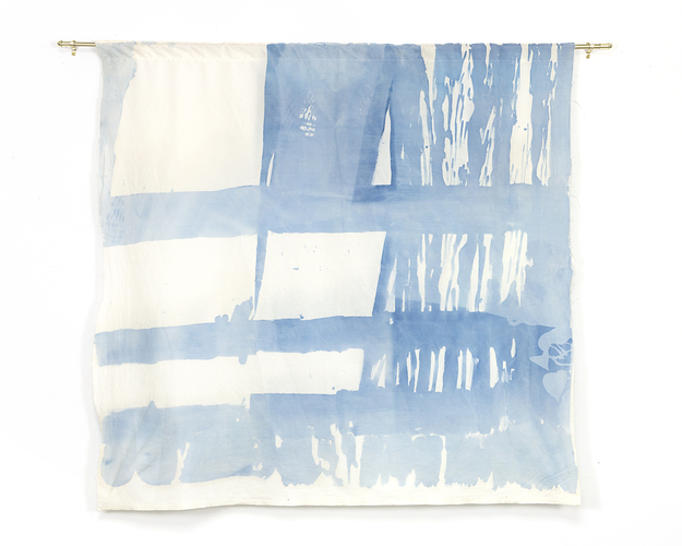 Katie M Westmoreland Light Shape Shadow Form cyanotype solution on cotton fabric, brass curtain rod