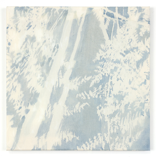Katie M Westmoreland Light Shape Shadow Form cyanotype solution, walnut ink, bleach, cotton fabric on stretcher bars