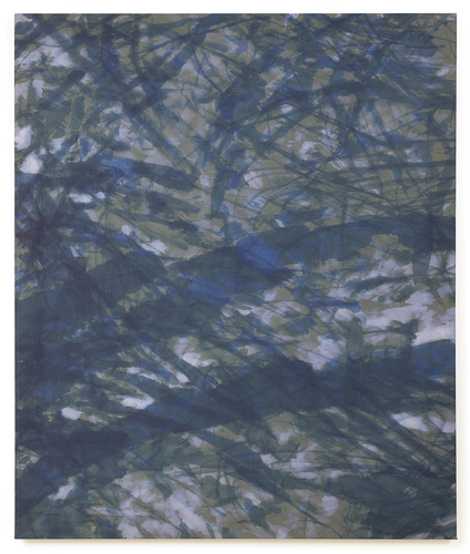 Katie M. Westmoreland Textile Paintings bleach, cyanotype solution, silk fabric on stretcher bars