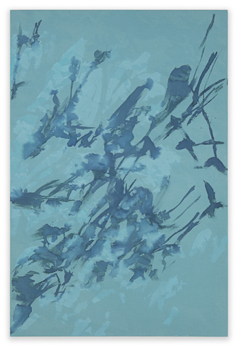Katie M. Westmoreland Textile Paintings cyanotype solution, bleach, acrylic paint, cotton fabric on stretcher bars
