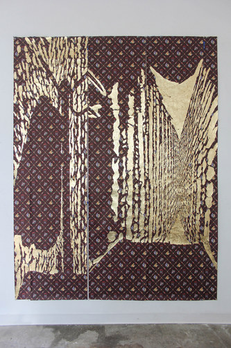 Katie M. Westmoreland Textile Paintings gold leaf (copper + aluminum alloy) on wallpaper