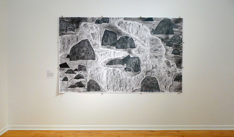"exhibition photos December 2016 at the end of group exhibit at Paul Robeson Gallery at Rutgers University in Newark, NJ. Pictured here is ""Rocky Rocks and Peeking Polygons""(2016); charcoal and graphite on paper; 60 inches x 100 inches"
