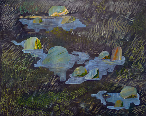 paintings Rocky Rocks and Grassy grass