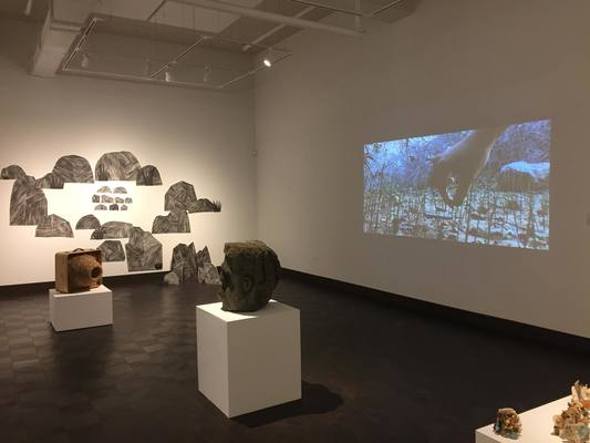 """Rockscape""(2016-2018) drawing installation and projected video of ""Mojave Desert Spring Squeakers""(2017) at group exhibition Navigating Elements at Rowan University Art Gallery, Glasboro, NJ. (photo credit:Rowan University Art Gallery) . Spring-Summer 2018"
