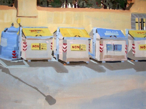 Katy Diamond Hamer I Cassonetti (Dumpster Landscape) Acrylic on canvas paper