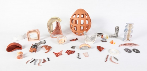 KATY KRANTZ Found Objects painted and glazed porcelain and terracotta