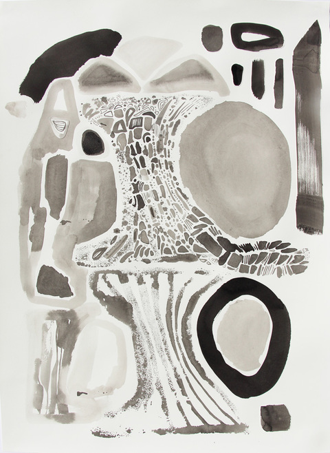 KATY KRANTZ Work on Paper relief print with collage and ink drawing