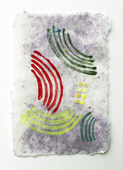 KATY KRANTZ Work on Paper monoprint with collage on handmade paper