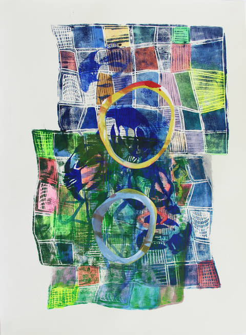 KATY KRANTZ Work on Paper relief print with collage and acrylic paint