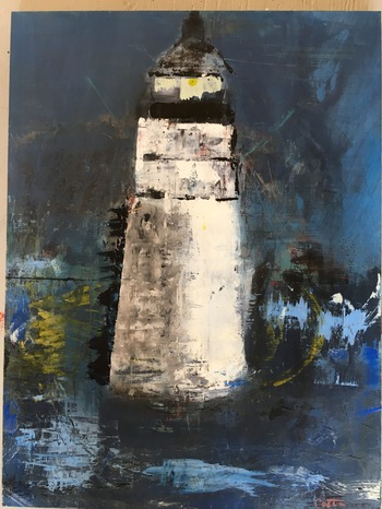 Kathy Cotter LIGHTHOUSES and BOATS Oil &Wax on board