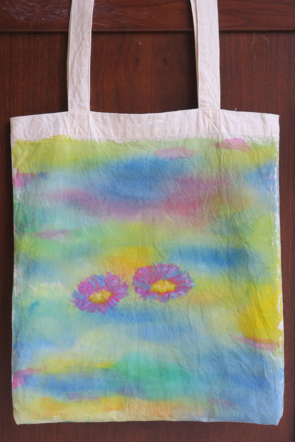 Keisuke Eguchi Painting Everyday Life scenes acrylic on tote bag