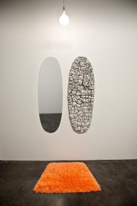 Kelcy Chase Folsom Archive mirror, light bulb, ceramic, forced perspective hand latch-hooked rug