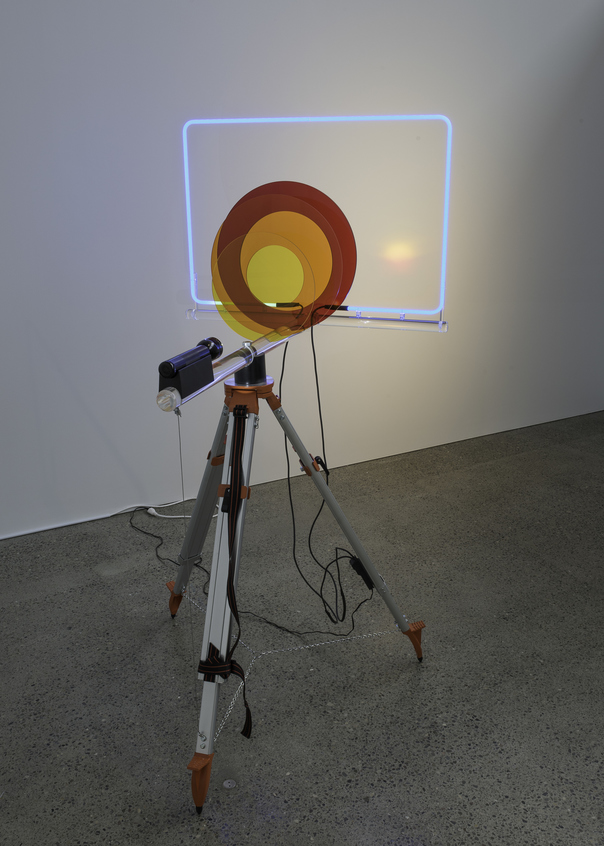 Kelcy Chase Folsom 2017 surveyors tripod, Plexiglas, painted mahogany, flashlight, neon, extension cord, hardware