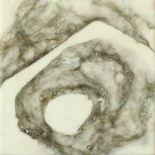 <i>a mari</i> wax, pigment on birch panel