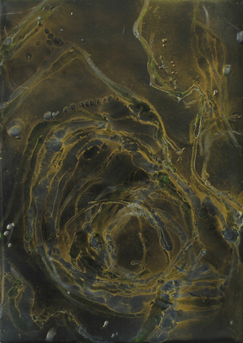 <i>a mari</i> wax, pigment on panel