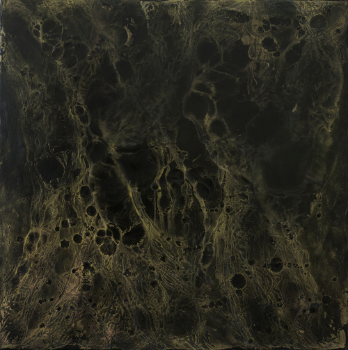 golden glimmer wax, pigment on birch panel