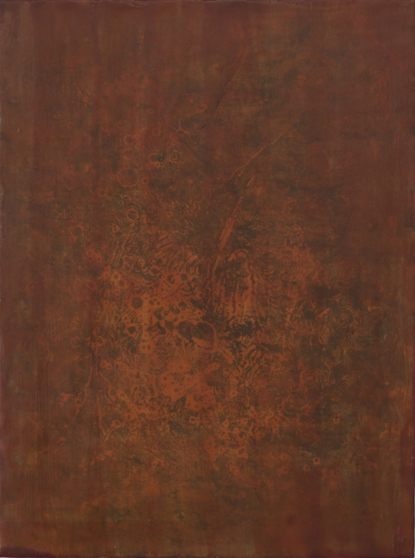 smoke and rust wax, resin, pigment, rust on birch panel