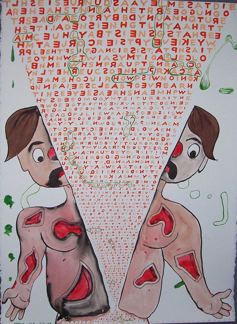 Letter From the Grave Gouache and ink on paper