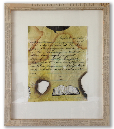 Now & Then: PPL Reconfigured ink, gouache on paper with vintage newspaper collaged frame