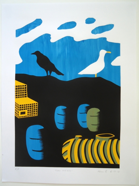 Monhegan Prints Crow and Gull