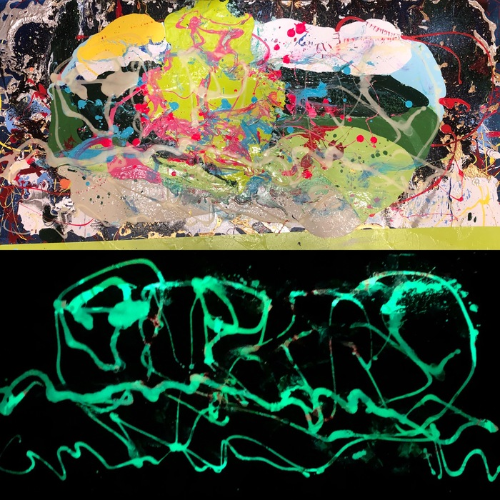 Ken Rush Poured and luminescenct paintings 2018