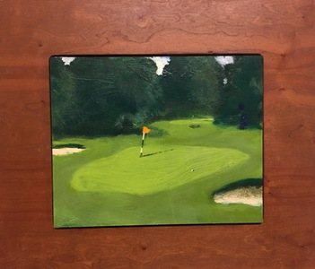 Ken Rush Golf Studies  2016-17 oil on Board with Cherry frame