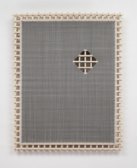 Ken Weathersby Paintings 2006 - Present acrylic paint film with removed area over wood scaffold over linen