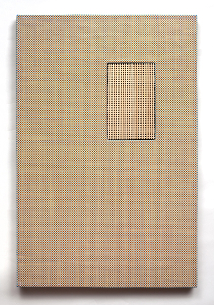 Ken Weathersby Paintings 2006 - Present acrylic & graphite on linen  with removed and replaced area (wood)