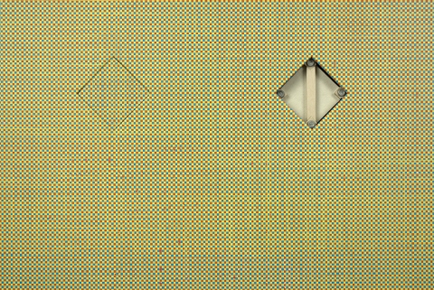 Ken Weathersby Paintings 2006 - Present acrylic & graphite on canvas with removed and replaced area and removed and reversed area